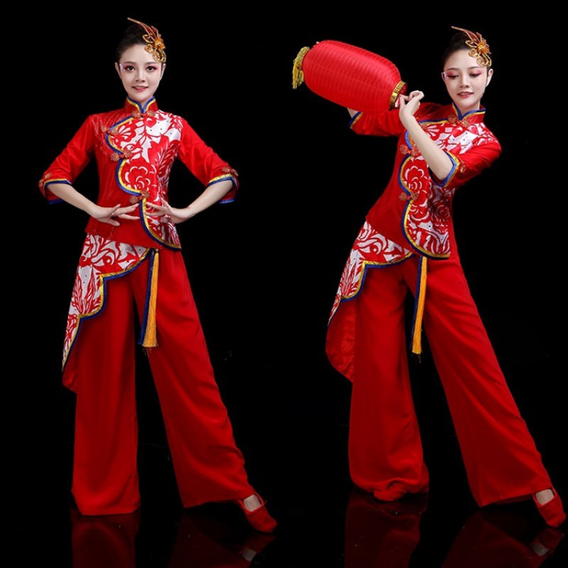 Women's chinese style chinese folk dance costumes ancient traditional yangko drummer fan umbrella classical dance dresses