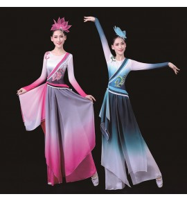 Women's chinese traditional classical dance dress fan umbrella dance dresses fairy drama cosplay dresses