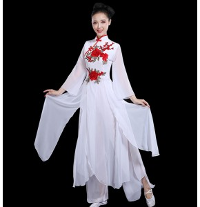 Women's Chinese traditional folk dance costumes female dresses white color with red rose  for girls yangko umbrella fairy drama cosplay fan dresses