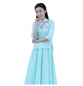Women's chinese traditional qipao dresses stage performance ancient china princess performance dress costumes