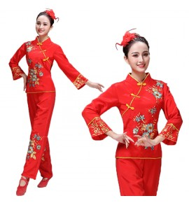 Women's chinese yangko fan folk dance costumes female red colored square dance umbrella stage performance dresses