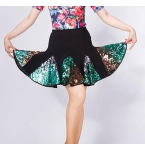 Women's competition latin salsa chacha dance sequin skirts