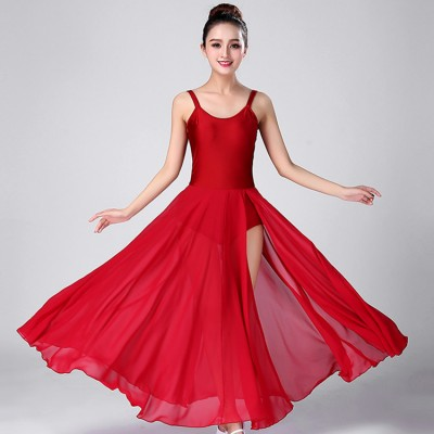 Women's competition modern dance ballet dress for female girls wine color sleeveless professional ballet costumes