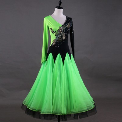 Women's diamond competition ballroom dresses for female green and black patchwork long length waltz tango dancing dresses