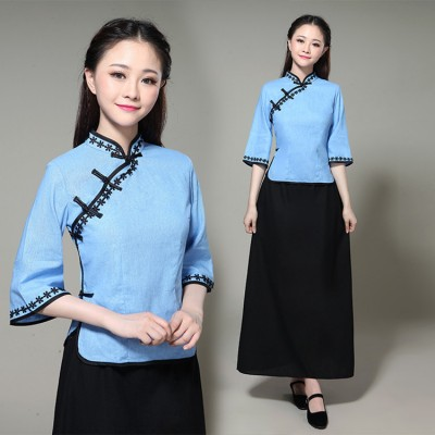 Women's drama cosplay cheongsam Chinese dresses may youth republic of china retro student suits costumes