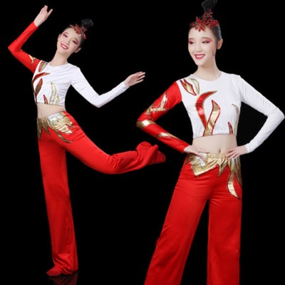Women's exercises aerobics cheerleaders stage sports uniforms square dance performance costumes tops and pants