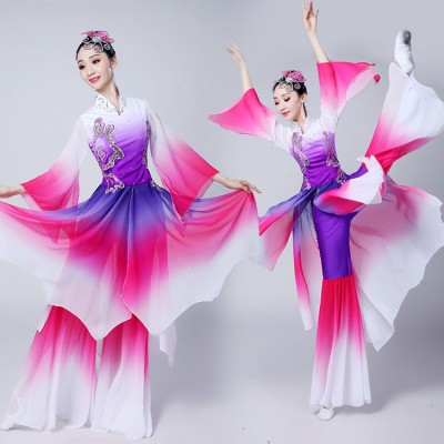 Women's fairy chinese folk dance costumes gradient stage performance competition yangko film cosplay dancing dresses