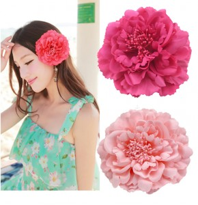Women's female beach dress stage performance host singers hair peony simulated peony head flowers headdress brooch