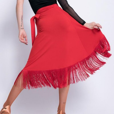 Women's female girls fringes wrap latin dance skirts stage performance gymnasitcs samba chacha dance wrap hip scarf skirts