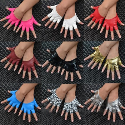 Women's female jazz dance gloves pu leather punk night club ds singers hiphop pole dance half fingers gloves mitten
