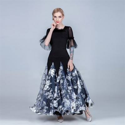 Women's flamenco ballroom dancing dresses modern dance female floral waltz tango dancing dress tops and skirts