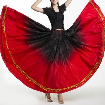 Women's flamenco dance skirts pink red gradient swing bull dance paso double dance skirts