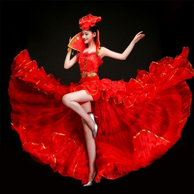 Women's flamenco dancing dresses spanish bull dance skirt samba dancing dresses big skirted