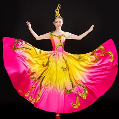 Women's flamenco dress  girls spanish bull dance opening dance chorus stage performance ballroom dresses