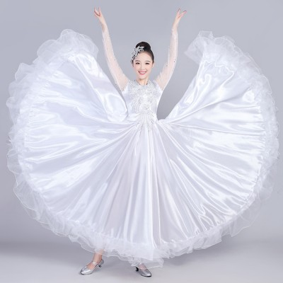 Women's flamenco dresses white color Spanish bull dance fan competition stage performance ballroom dresses