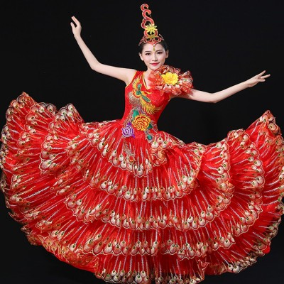 Women's flamenco folk dance dresses red Spanish stage performance bull dancing peacock  big skirted opening dancing long dresses