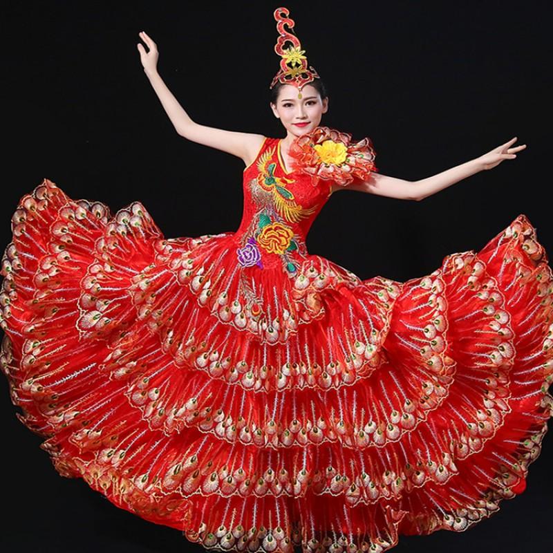 dc683866c119 Women\'s flamenco folk dance dresses red Spanish stage performance bull dancing  peacock big skirted opening ...