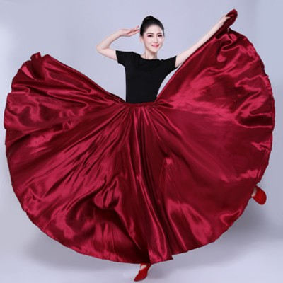 Women's flamenco skirt bull dance paso double dance skirts modern dance swing skirts only skirt