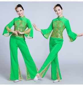 Women's folk dance costumes female st green red Chinese yangko stage performance competition folk fan dance costumes outfits