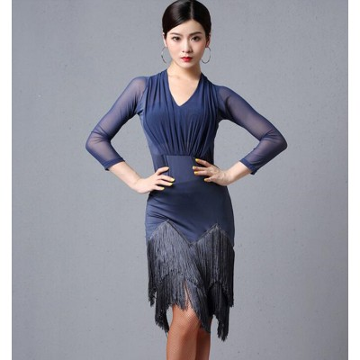 Women's fringes blue latin dance dresses competition professional salsa rumba dance dresses