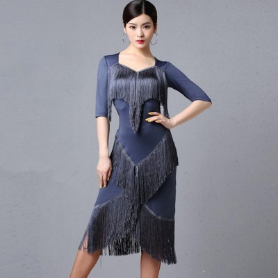 Women's fringes gray wine black stage performance latin dance dresses salsa rumba samba dance dress