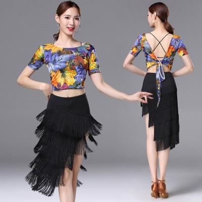 Women's fringes latin dresses blue floral competition performance gymnastics salsa chacha rumba samba dance tops and fringes skirts
