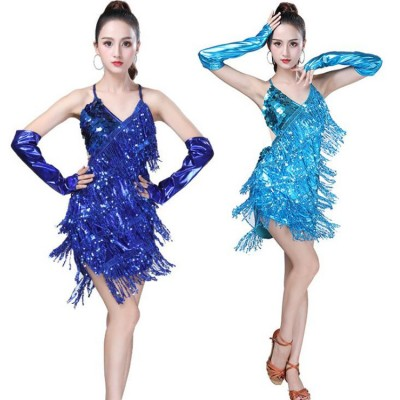 Women's fringes latin dresses competition stage performance salsa chacha rumba dancing dresses skirts