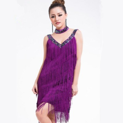 Women's fringes latin dresses purple royal blue black white sequins flapper salsa chacha rumba dancing dresses