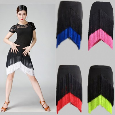 Women's fringes latin skirts stage performance rumba samba chacha salsa dancing practice skirt