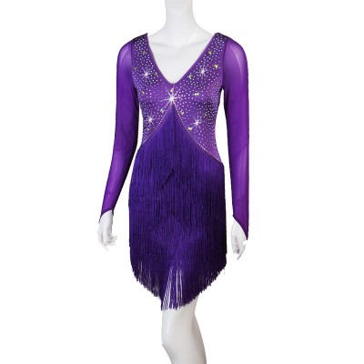 Women's fringes rhinestones competition latin dance dresses salsa rumba chacha dance dress costumes