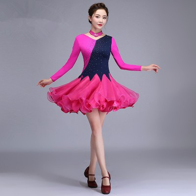 Women's fuchsia purple salsa latin dance dresses competition stage performance rumba dance dress