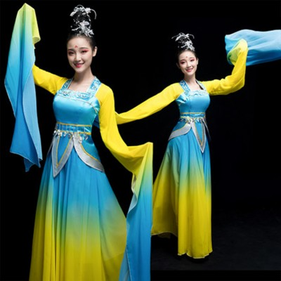 Women's girl hanfu blue with yellow chinese folk dance costumes princess water sleeves fairy empress queen cosplay dresses