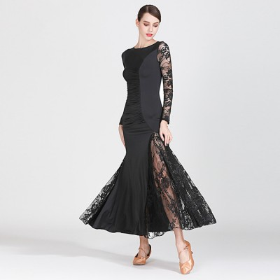 Women's girls ballroom dance dresses peacock green black colored ballroom waltz tango dance dresses