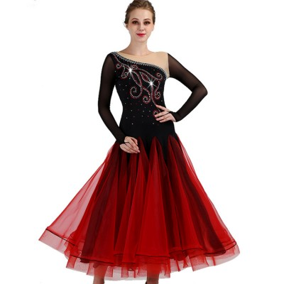 Women's girls ballroom dancing dresses black with wine rhinestones competition professional tango waltz dance skirt dress