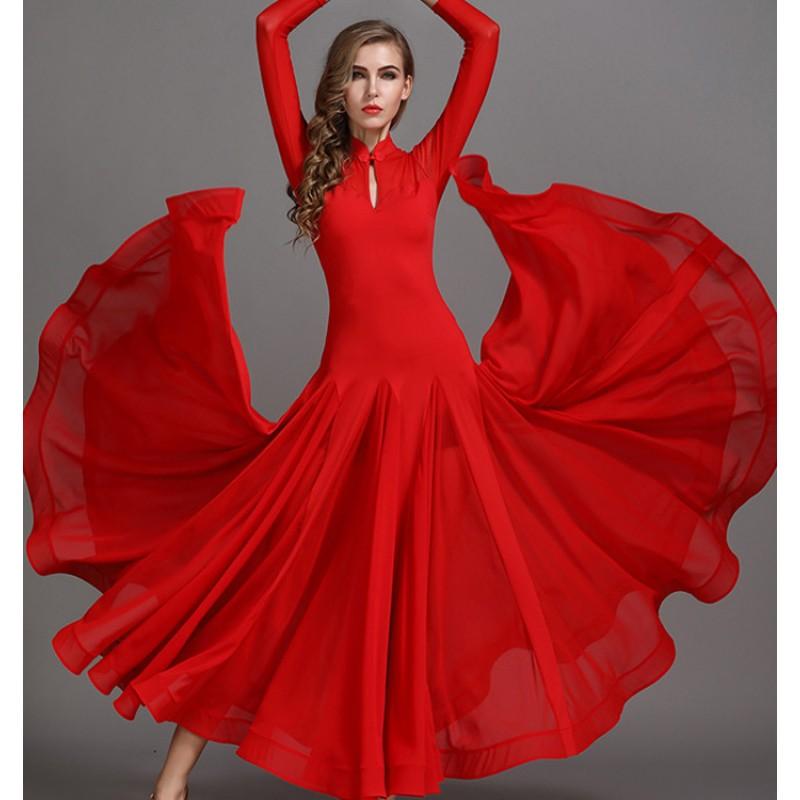 Ballroom Competition Dance Dress Women Red Standard Tango Waltz Dancing Dress