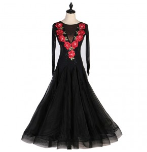 Women's girls black with rose comptition ballroom dancing dresses flamenco waltz tango dancing dresses