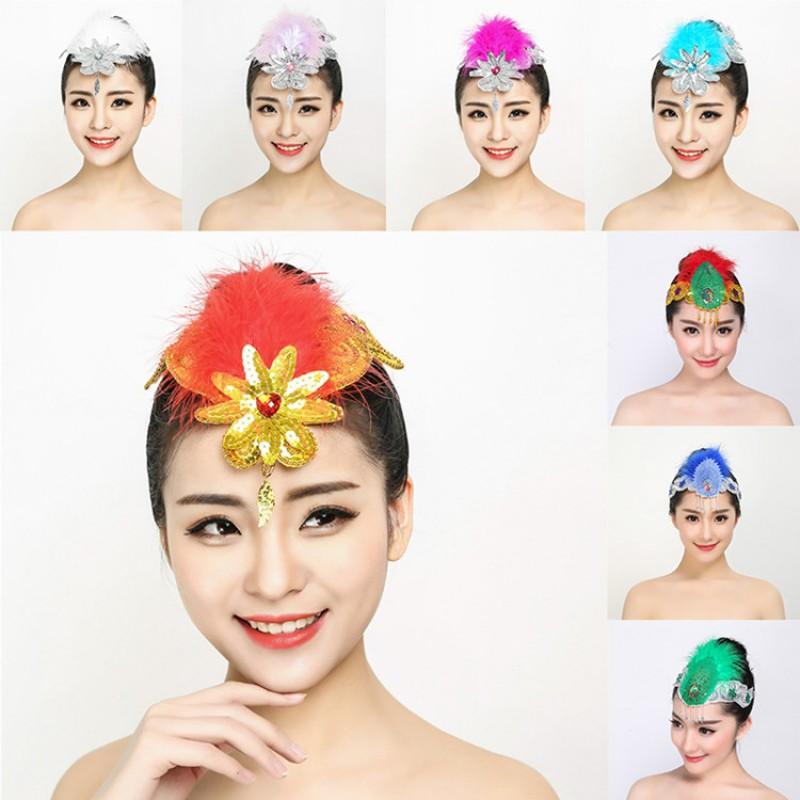 Women S Girls Chinese Folk Classical Dance Feather Flowers Headdress Modern Dance Stage Performance Hair Accessories