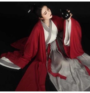 Women's girls chinese folk dance dress traditional hanfu tang dynasty princess swordsmen warrior drama cosplay kimono dresses