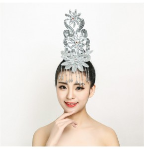 Women's girls chinese folk dance hair accessories modern dance stage performance fan dance classical performing headdress headwear