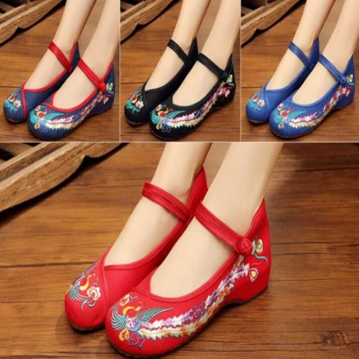 Women's girls chinese folk dance shoes stage performance opera drama cosplay stage performance embroidered shoes 3cm heels
