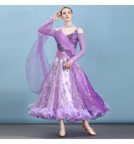 Women's girls competition ballroom waltz tango dance dresses robe de bal violet blue pink rhinestones long length flamenco dresses