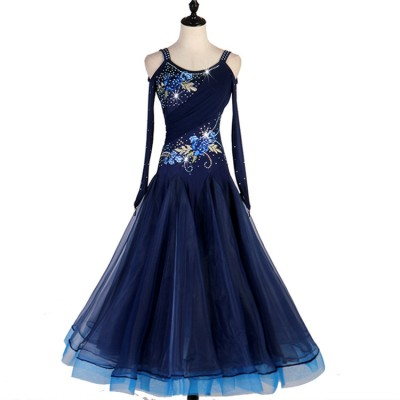 Women's girls competition navy ballroom dancing dresses waltz tango flamenco long dresses