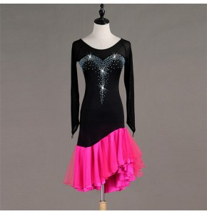 Women's girls diamond competition handmade latin dance dresses rhinestones salsa rumba chacha dance dresses