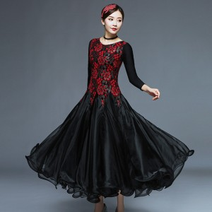 Women's girls flamenco dress lace black red dark green ballroom dancing dresses waltz tango dancing dresses