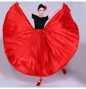 Women's girls flamenco skirts Red royal blue white black gold green pink Spanish folk bull dance skirts ballroom dance swing skirts