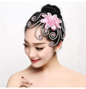 Women's girls  hanfu stage performance modern dance performing flowers headdress fairy princess cosplay hair accessories