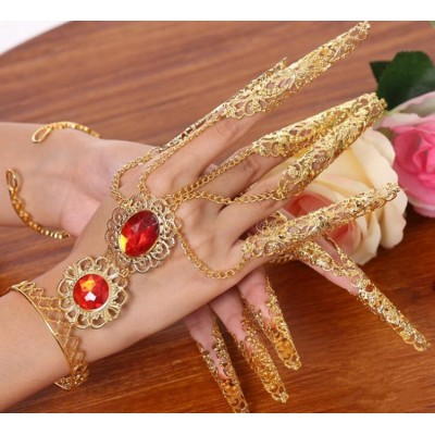 Womens girls indian queen Belly Dance Gypsy Egyptian Gold Bracelet bangle with Finger Nails Ring one pair