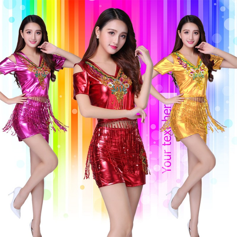 Women's girls jazz dance costumes silver gold red modern dance street dance gogo dancers cheerleaders school competition outfits
