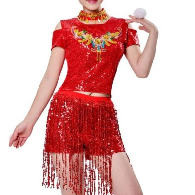 Women's girls jazz hiphop dance costumes sequin street cheerleaders gogo dancers stage performance outfits costumes