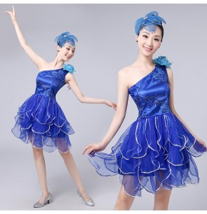 Women's girls jazz singers spring modern dance dance petals dresses green multi color chorus drama party cocktail cosplay dresses